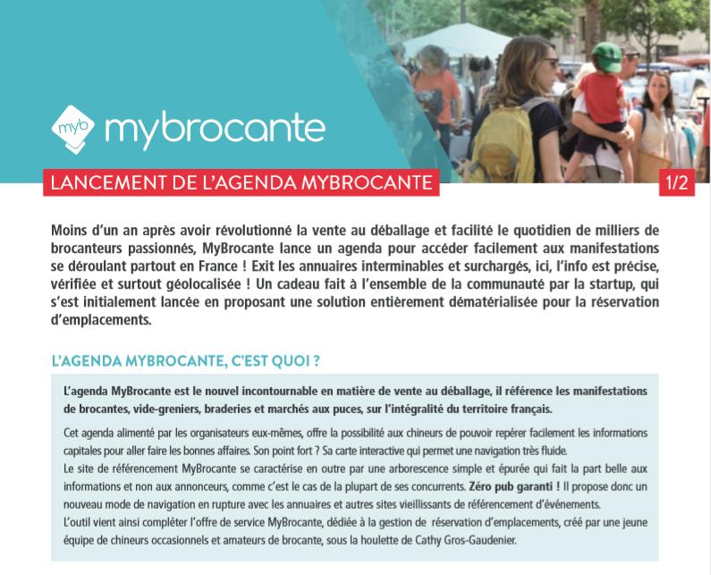 CP : lancement de l'agenda MyBrocante